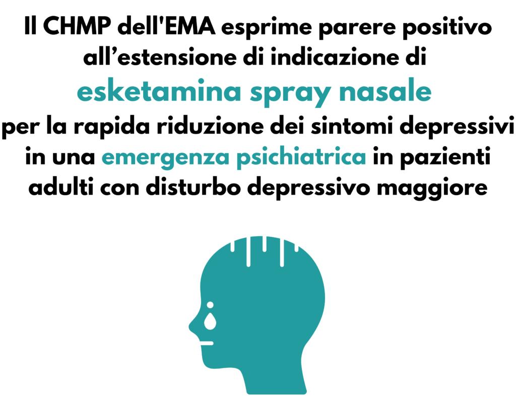 Parere positivo CHMP per estensione di indicazione di esketamina spray nasale per il MDD